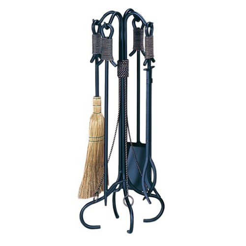 Uniflame, F-1299, 5 pc Black Wrought Iron Fireset with Copper Rope [1]