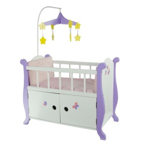 Olivia's Little World - Princess Baby Doll Furniture - Nursery Crib Bed with Storage Cabinet (White) Wooden 18 inch Doll Furniture