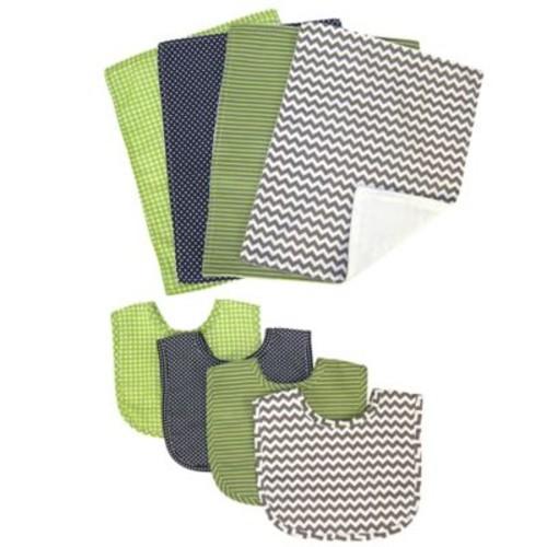 Trend Lab 8-Piece Perfectly Preppy Bib and Burp Cloth Set