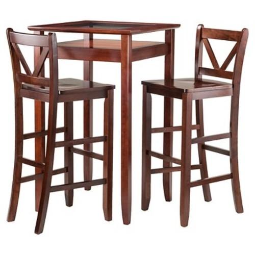 3 Piece Halo Set Pub Table with V-Back Bar Stools Wood/Walnut- Winsome