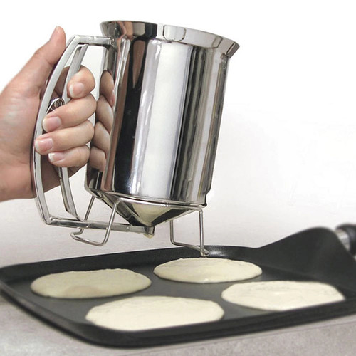 Pancake Batter Dispenser- Gourmet Stainless-Steel Pourer- Perfect for Baking Cupcakes, Waffles, Cakes, and Muffins- No Drip Dispenser by Chef Buddy [Stainless Steel]