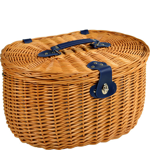 Picnic at Ascot Ramble Lined Picnic Basket with Service for 2 -Trellis Green