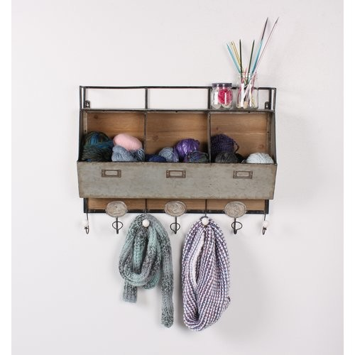 Arnica Rustic Wood and Metal Wall Storage Pockets with Coat Rack Hooks