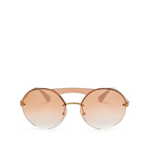 Cinema Evolution Brow Bar Mirrored Rimless Round Sunglasses, 138mm