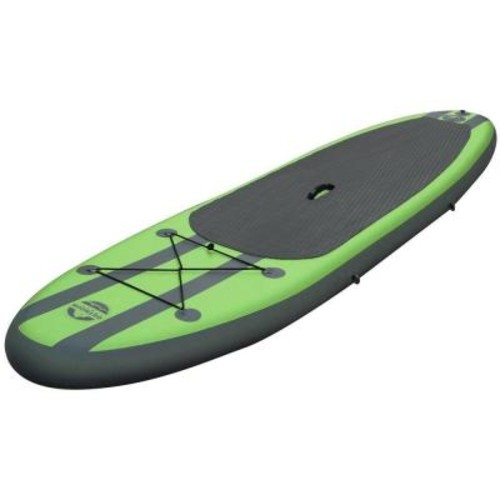 Outdoor Tuff 10 ft. Green PVC SUP Inflatable Backpack Paddle Board Sport with Adjustable Paddle