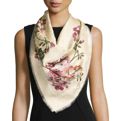 GUCCI Gerabloom Jacquard Square Silk Scarf, White/Pink