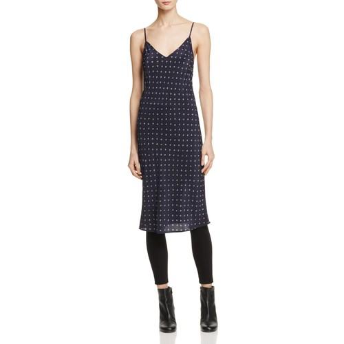 VINCE Dot-Print Silk Slip Dress