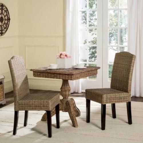 Safavieh Odette Wicker Dining Chairs in Whitewash (Set of 2)