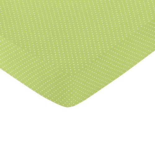 Sweet Jojo Designs Hooty Fitted Crib Sheet - Lime-White Mini Dot