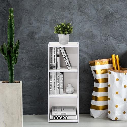 Furinno White 3-Tier Open Shelf Bookcase