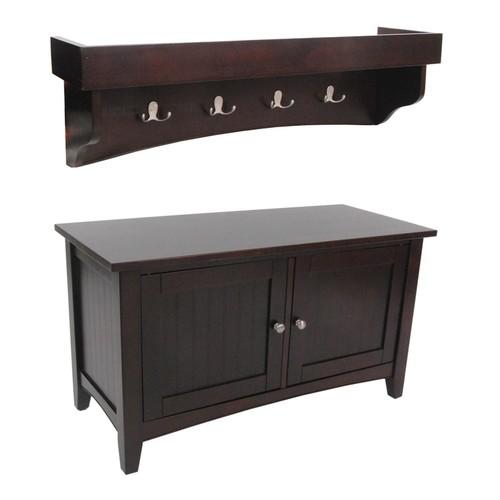 Alaterre Shaker Cottage Storage Bench & Shelf Coat Hook Set