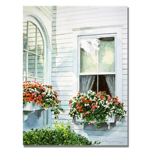 Window Boxes by David Lloyd Glover, 18x24-Inch Canvas Wall Art [18 by 24-Inch]