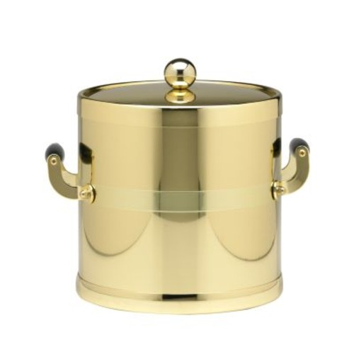 Kraftware Americano 3 Qt. Polished Brass Ice Bucket and Lid, Wood Side Handles