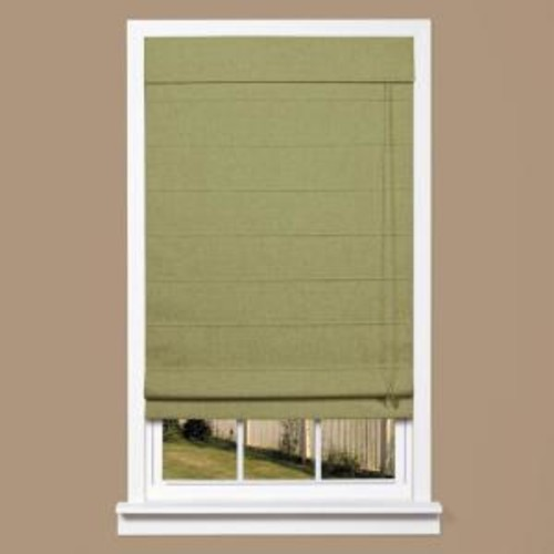 homeBASICS Green Linen-Look Thermal Blackout Fabric Roman Shade - 33 in. W x 64 in. L