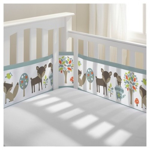 BreathableBaby Mesh Crib Liner - Woodland Fun - Gray
