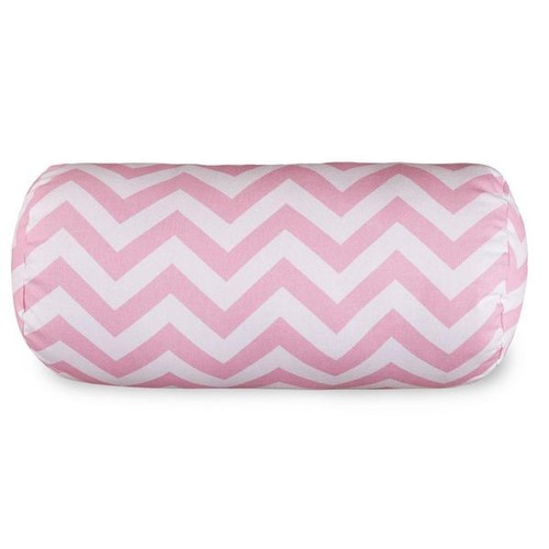 Majestic Home Goods Throw Pillows Chevron Round Bolster Pillow [option : Baby Pink Chevron Round Bolster]