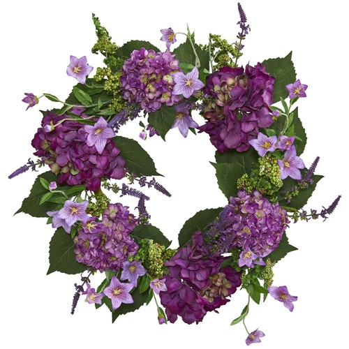 Nearly Natural 24 in. Hydrangea Wreath