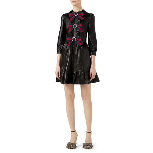 GUCCI 3/4-Sleeve Bow-Trim Leather Dress