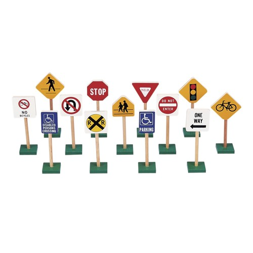 Guidecraft Block Play Traffic Signs set of 7