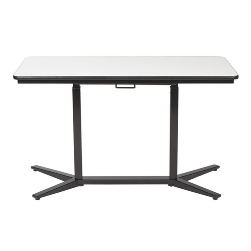 Office Star Pro-Line II Pneumatic Height Adjustable Table, Rectangle, White/Black