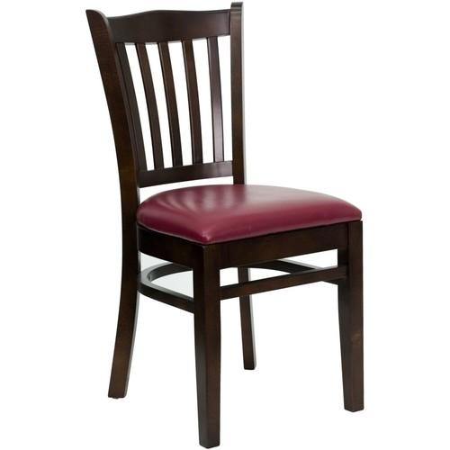 Flash Furniture HERCULES Walnut Vertical Slat Back Vinyl Restaurant Chairs, Burgundy, 4/Pack