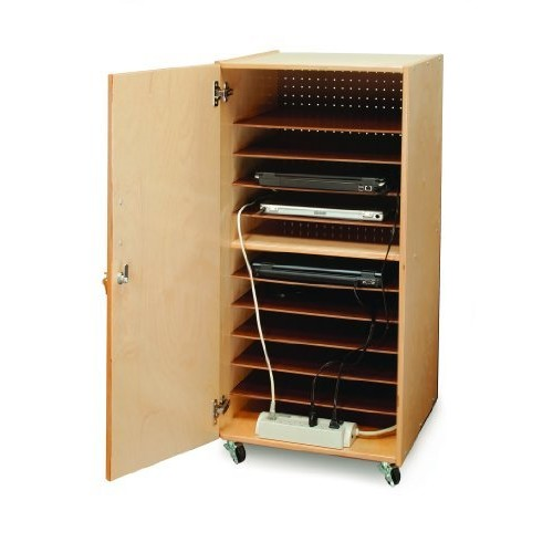 Whitney Brothers Birch Laminate Laptop Security Cabinet, Single