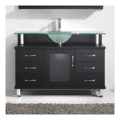 Virtu USA Vincente 48 in. Single Basin Vanity in Espresso with Glass Vanity Top in Frosted Glass MS-48-FG-ES