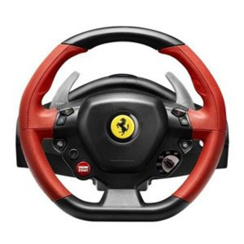 Guillemot Thrustmaster Ferrari 458 Spider Racing Wheel - For Xbox One, Wheel & Pedal Set, Red Rubber-Textured Grips, Metal Paddle Shifters, Adjustable Sensitivity, Kinect Detection LED - 4460105