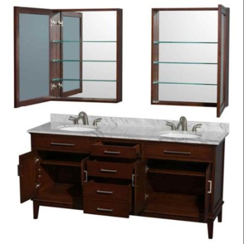 Wyndham Collection Hatton 72 inch Double Bathroom Vanity in Dark Chestnut, No Countertop, No Sinks, and Medicine Cabinets