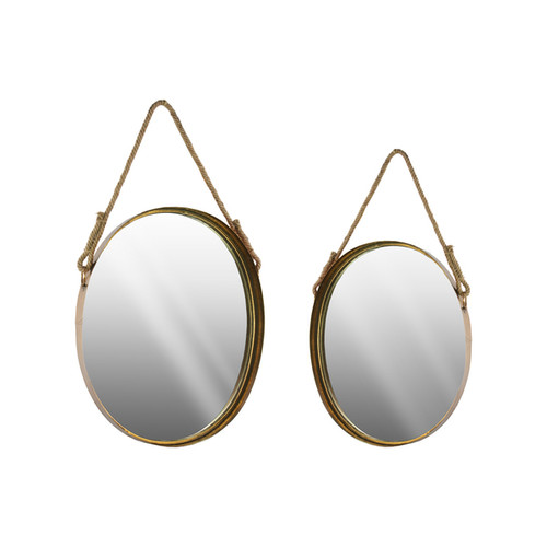 Metal Wall Mirror with Rope Handle Metallic Finish Antique Gold (Set of 2)