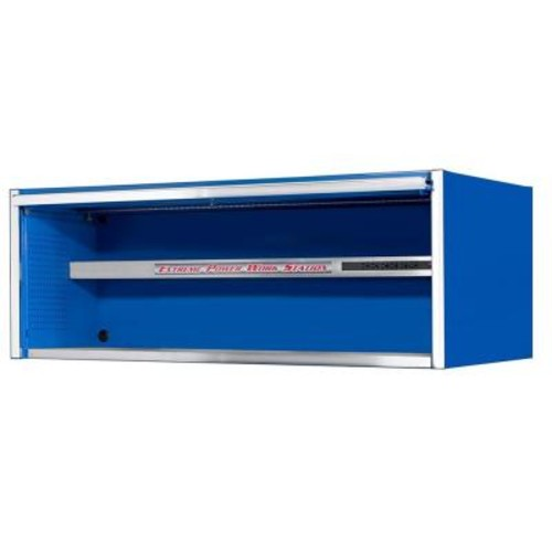 Extreme Tools 72 in. 0-Drawer Power Workstation Professional Hutch with Stainless Steel Shelf and Work Surface, Blue