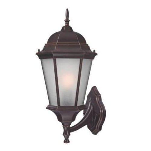 Design Colonial Coach Wall-Mount 20.25 in. Outdoor Old Bronze Lantern with White Glass Shade