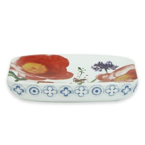 Bacova Merry May Soap Dish in Coral/Ivory