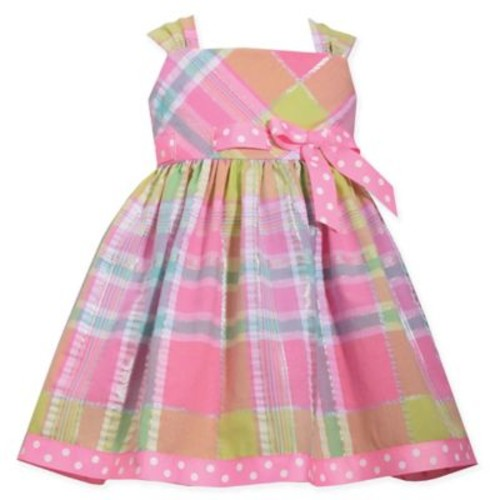 Bonnie Baby Size 12M 2-Piece Plaid and Polka Dot Seersucker Dress and Panty Set in Pink