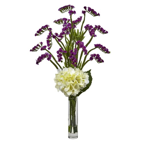 Hydrangea and Statice Bud Silk Arrangement with Cylindrical Glass Vase - Nearly Natural