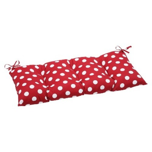 Outdoor Tufted Bench/Loveseat/Swing Cushion - Red/White Polka Dot