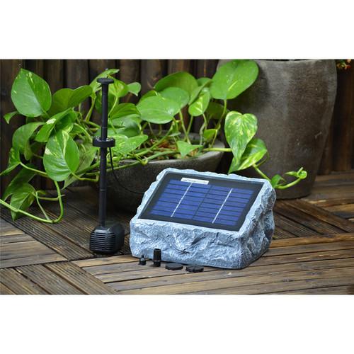 Solar Stone Water Pump Two (2) Watt with LED Light Fountain Kit - Solar Stone Pump