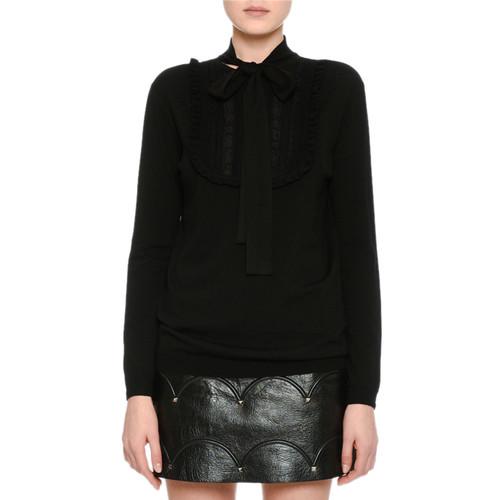 VALENTINO Long-Sleeve Lace-Placket Sweater, Black
