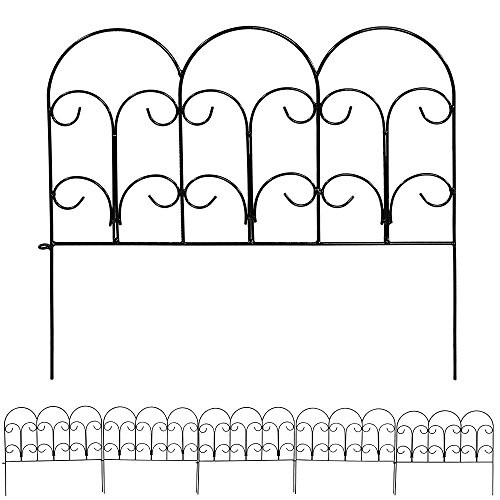 Sunnydaze 5 Piece Victorian Border Fence Set, 16 Inches x 18 Inches Wide Each Piece, 7.5 Overall Feet