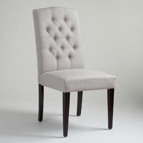 Gray Tufted Chairs, Set of 2