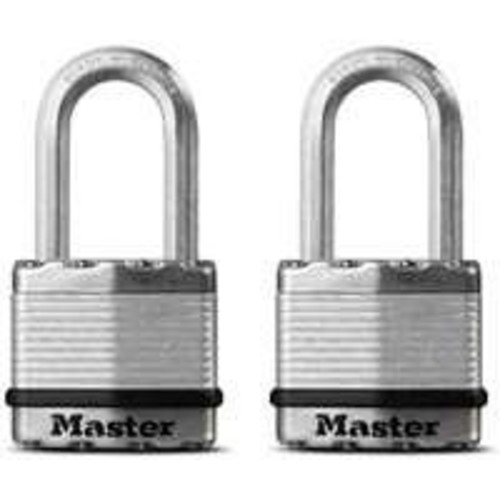 Master Lock Padlock, Magnum Laminated Steel Lock, 1-3/4 in. Wide, M1XTLF (Pack of 2-Keyed Alike)