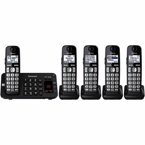 Panasonic KX-TGE445B DECT 6.0 Expandable Cordless Phone with Answering Machine - 5 Handsets