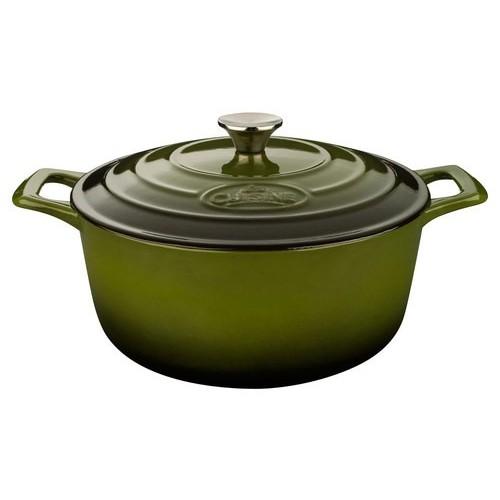 La Cuisine - Pro Cast-Iron Round Covered Casserole - Green