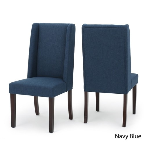 Rory Wing-Back Fabric Dining Chair (Set of 2) by Christopher Knight Home [option : Dark Grey]