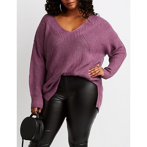 Plus Size Shaker Stitch Pullover Sweater