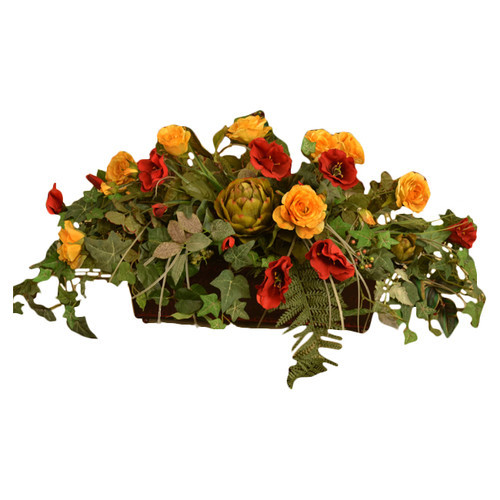 Silk Ledge Planter with Roses and Ivy