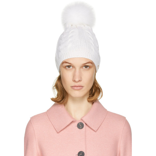 YVES SALOMON Ivory Cable Knit Fur Pom Pom Beanie