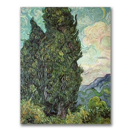 Cypresses, 1889 by Vincent van Gogh, 18x24-Inch Canvas Wall Art [18 by 24-Inch]