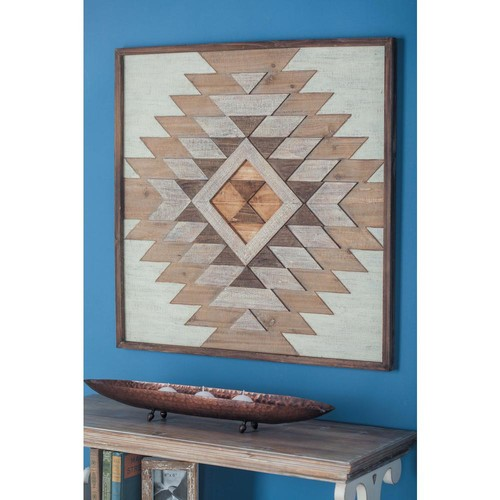 32 in. x 32 in. Rustic Geometric Patterns Wooden Wall Decor in Stained Brown
