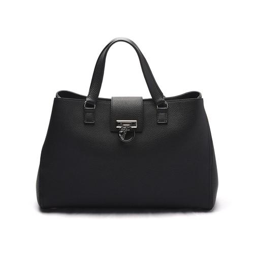 Pebbled Leather Satchel Handbag